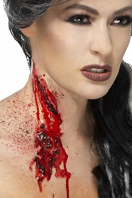 Men's Women Slash Throat Make-Up Scar Adhesive & Blood Halloween Fancy Dress