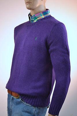 Ralph Lauren Purple High Twist Crewneck Cotton Sweater/Green Pony-NWT