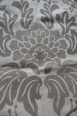 Lovely UNUSED vintage pure linen upholstery fabric - taupe damask - 30