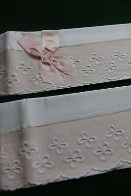 Pair vintage UNUSED white cotton pillowcases with pink Swiss Lace trim.