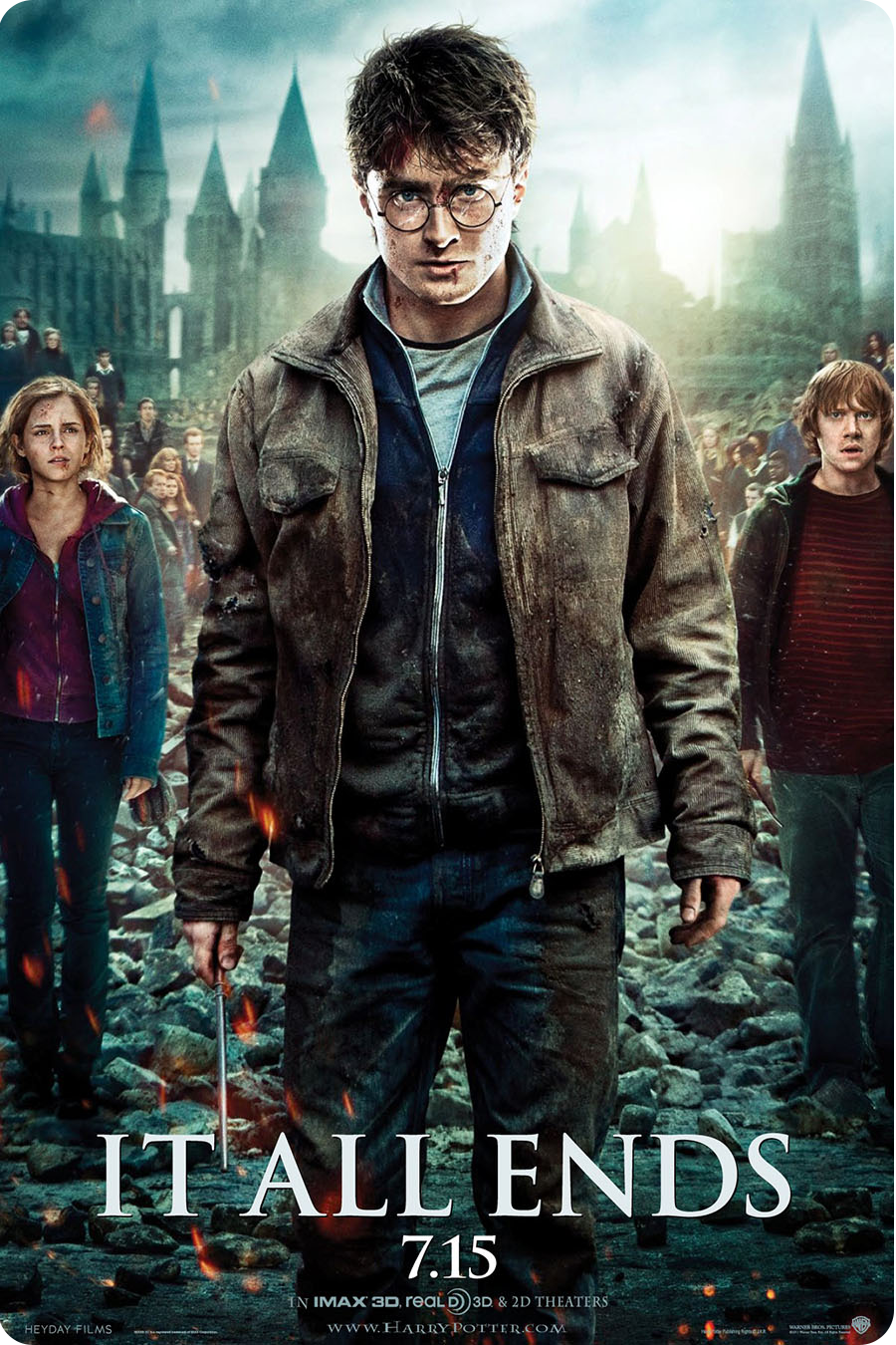 10 NEW HARRY POTTER DEATHLY IT ALL ENDS HALLOWS PART 2 - 12 X 17 7/14/11 POSTER - $14.94