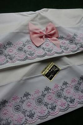 Pair vintage UNUSED white cotton pillowcases pink & grey Swiss embroidery lace