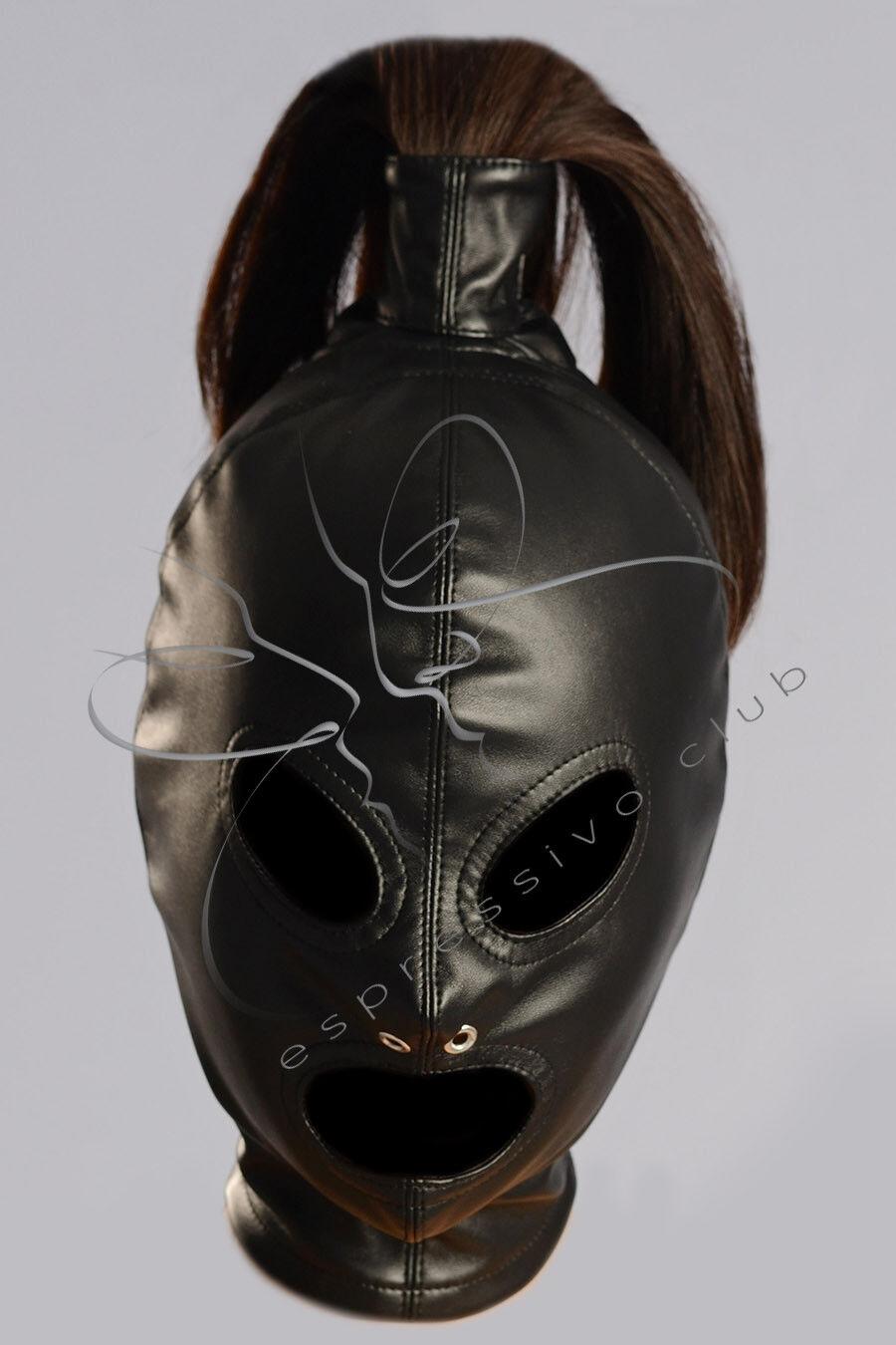 Ponytail Hood + eyes blindfold and mouth mask, Vegan leather