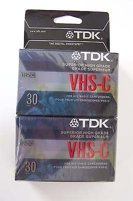 TDK 30 VHS-C Camcorder Superior High Grade 2 Pack Tape Sealed NEW Never Used Lot
