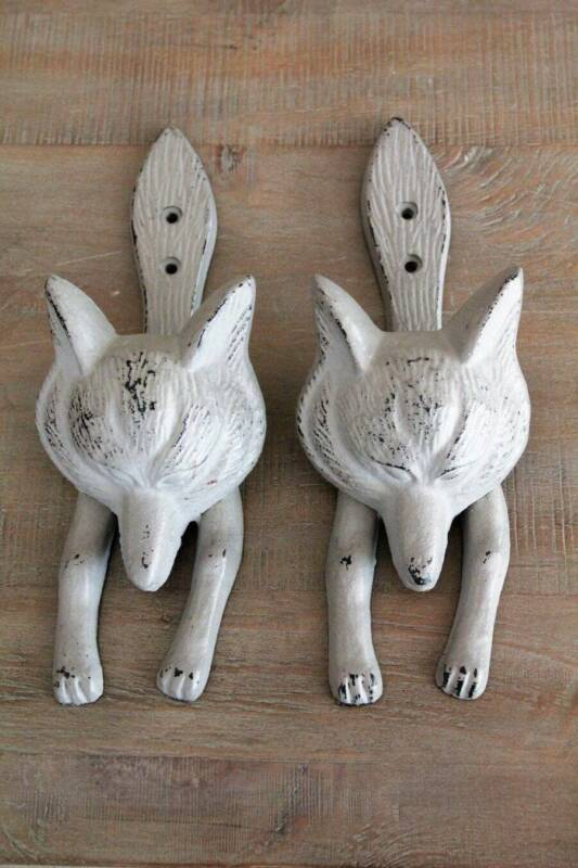 "2 Vintage Style Gray Wolf Cast Iron Wall Hooks 9.25"" x 3.25"""