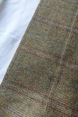 Gorgeous UNUSED vintage pure wool tweed check fabric  Moss Green & Red 25