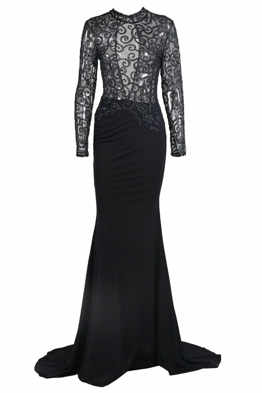 Honey Couture Black Mesh Sequin Formal Dress