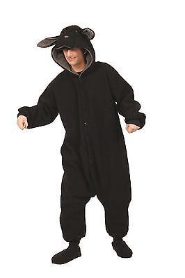 ADULT MENS WOOLY BLACK SHEEP LAMB GOAT RAM FARM ANIMAL PAJAMAS COSTUME FUNSIE - Sheep Adult Costume