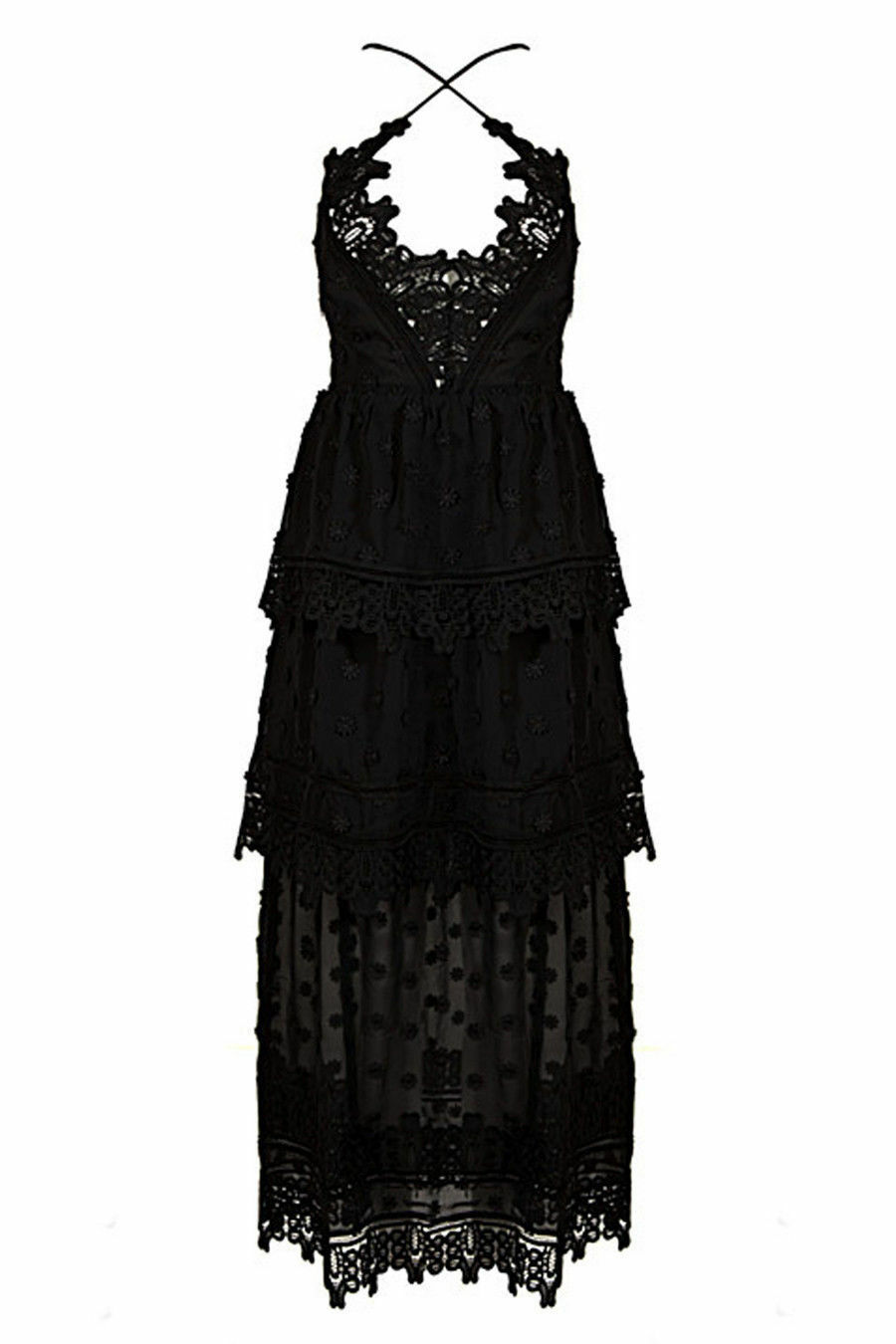 Honey Couture Black Lace Up Dress in Black