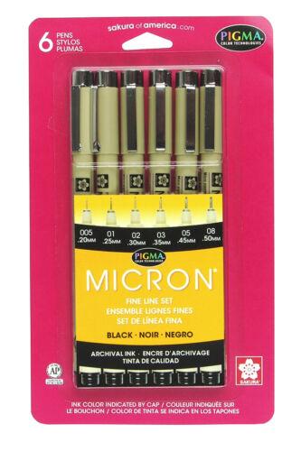Sakura Pigma Micron Fineliner Pens Black Ink 6-Pack *BNIP*