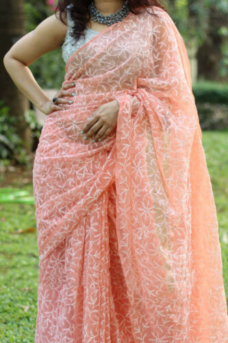 Handmade Lucknawi Georgette Chikankari Tepchi Thread Work Saree Ethnic Wear Sari