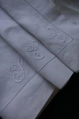3 antique men's UNUSED white Irish linen hankies / handkerchiefs - monogram