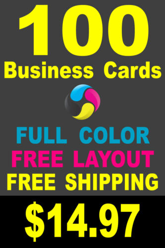 100 Full Color Gloss Custom Business Cards - FREE Shipping - Printed 1 Side