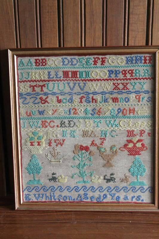 Antique Sampler E Whtison Aged 9 Years Trees Flowers Dogs Vases