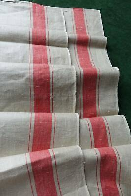 Antique UNUSED unbleached Irish linen fabric  wide red stripe to sides 36