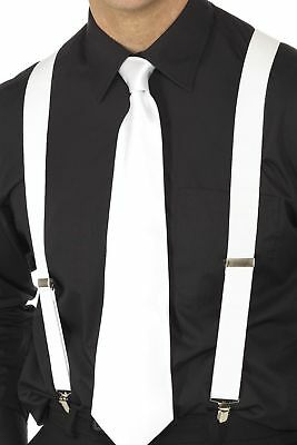 Mens White Braces 1920s Gangster Mafia Boss Flapper Fancy Dress Trouser Braces