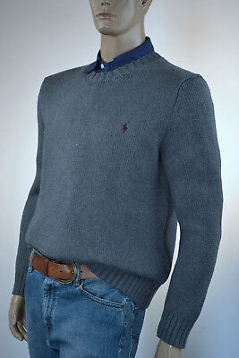 Ralph Lauren Gray Crewneck High Twist Cotton Sweater/Burgundy Pony-NWT
