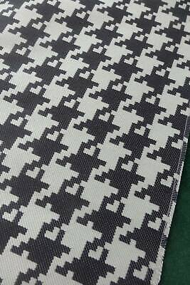 Vintage Kravet London UNUSED licorice & ivory houndstooth upholstery fabric 3m