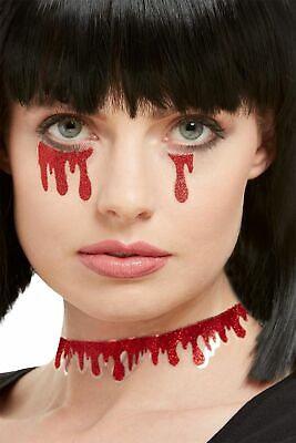 Halloween Blood Dripping Makeup (Blood Drip Tattoos Halloween Make Up Special FX Fancy Dress Accessory)