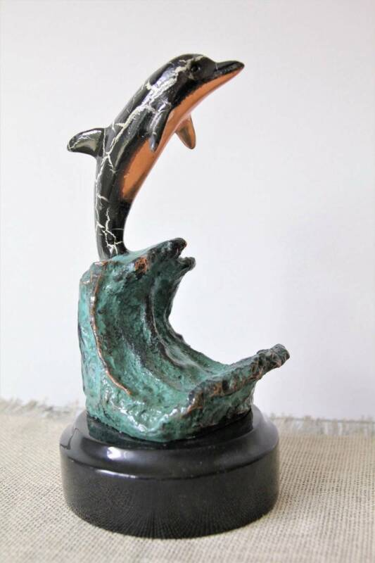 Donjo Marine Life Dolphin Sculpture Black with White Highlights, Signed