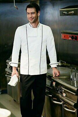 SIMON JERSEY EXECUTIVE UNISEX CHEF JACKET CHEFS WHITE BLACK PIPING CJ1830 Executive Chefs Jacket