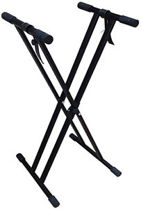 Heavy Duty Keyboard Stand Double X Frame with Straps Keyboard Mount