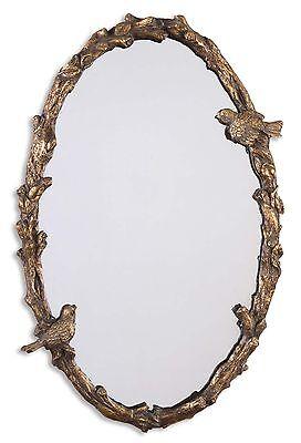 Bird On Branch Vine Oval Wall Mirror Antique Gold Bath Vanity Foyer Wall Decor