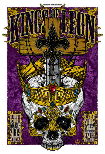 KINGS OF LEON - SYDNEY - 2009 - RHYS COOPER - THE STILLS - TOUR POSTER