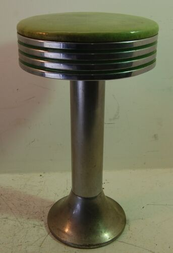 "Vintage Diner Swivel Round Stool, Green, Soda Fountain Drug Store Counter, 24"" T"