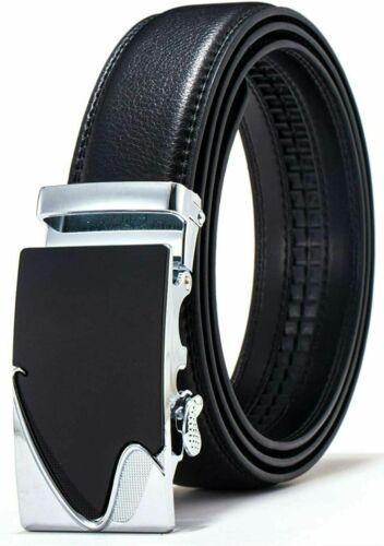 Hbutik Adjustable Leather Belt For Men With Classic Ratchet Metal Buckle