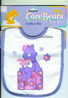 Care Bears SHARE BEAR feeding BIB Lollipop Flowers for baby shower gift 0-12 M  - Care Bear Baby Shower