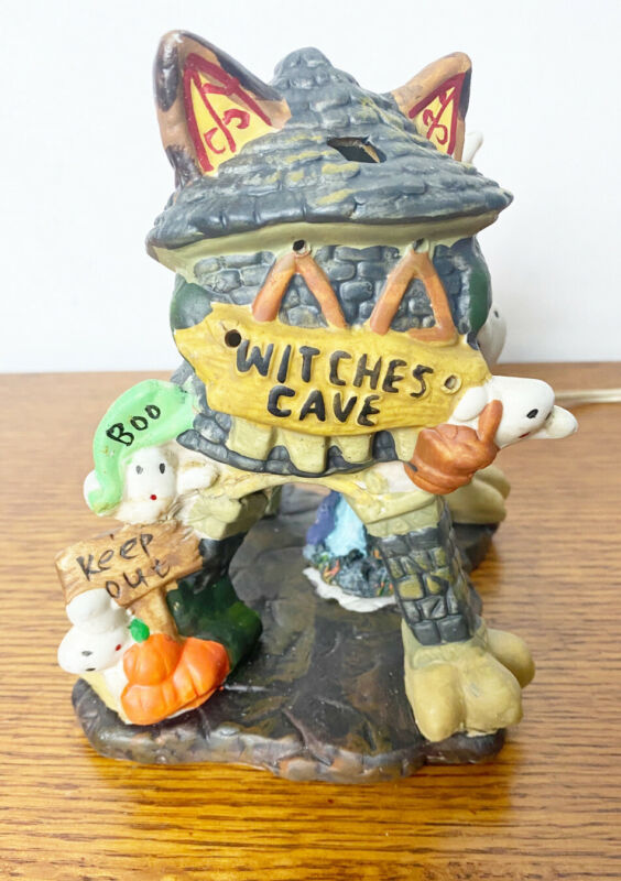 Spooky Hollow Witch's Cave Lighted Ceramic Halloween Cat Shaped House -No Box