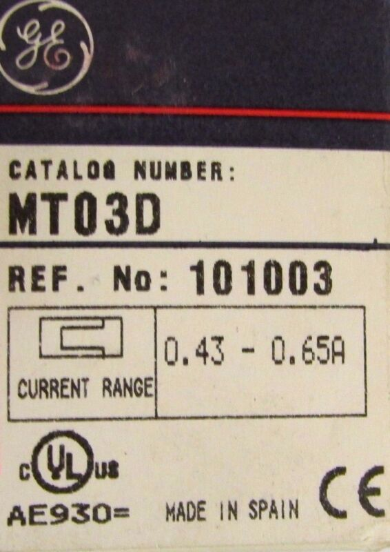 GENERAL ELECTRIC GE MT03D .43-.65 Amp Overload Relay