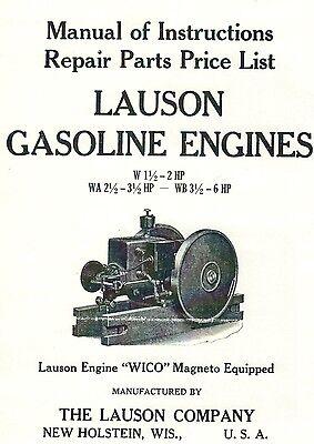 Lauson Gas Engine Motor Instruction Manual Parts List Wico Magneto