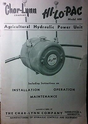 Char-lynn Pto Hydraulic Pump Hi-lo-pac Tractor Owner Parts Service Manual 20p