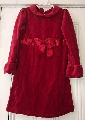 Talbots Kids Girls Red Velour Dress Sz 5 Ruffled Cuffs Valentines Day](Kid Valentines)