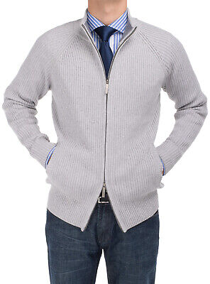 DTI BB Signature Mens Cotton Mock Neck Full Ribbed Zip Cardigan -