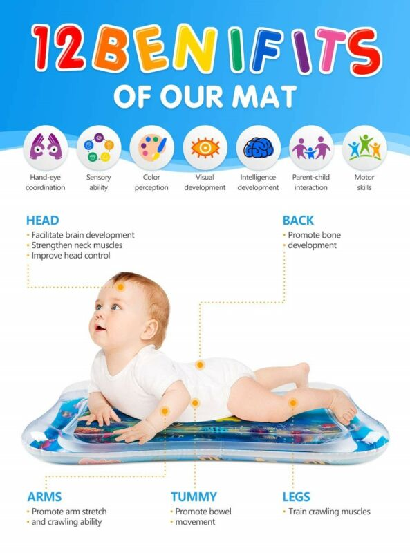 Tummy Time Water Play Mat, 7 Upgrade [2019 NEW] Inflatable Infant Baby Toys  To