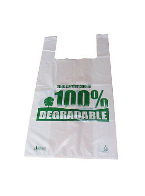 50 x Large Degradable White Vest Carrier Bags 11