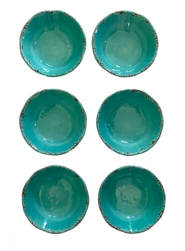 "Tommy Bahama, Turquoise Crackle Melamine 6.78"" Diameter Bowls, Set of 6"