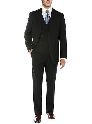 Salvatore Exte Mens Vested Suit 3 Piece 2 Button Blazer Vest Flat Front Pants Flat-front Blazer