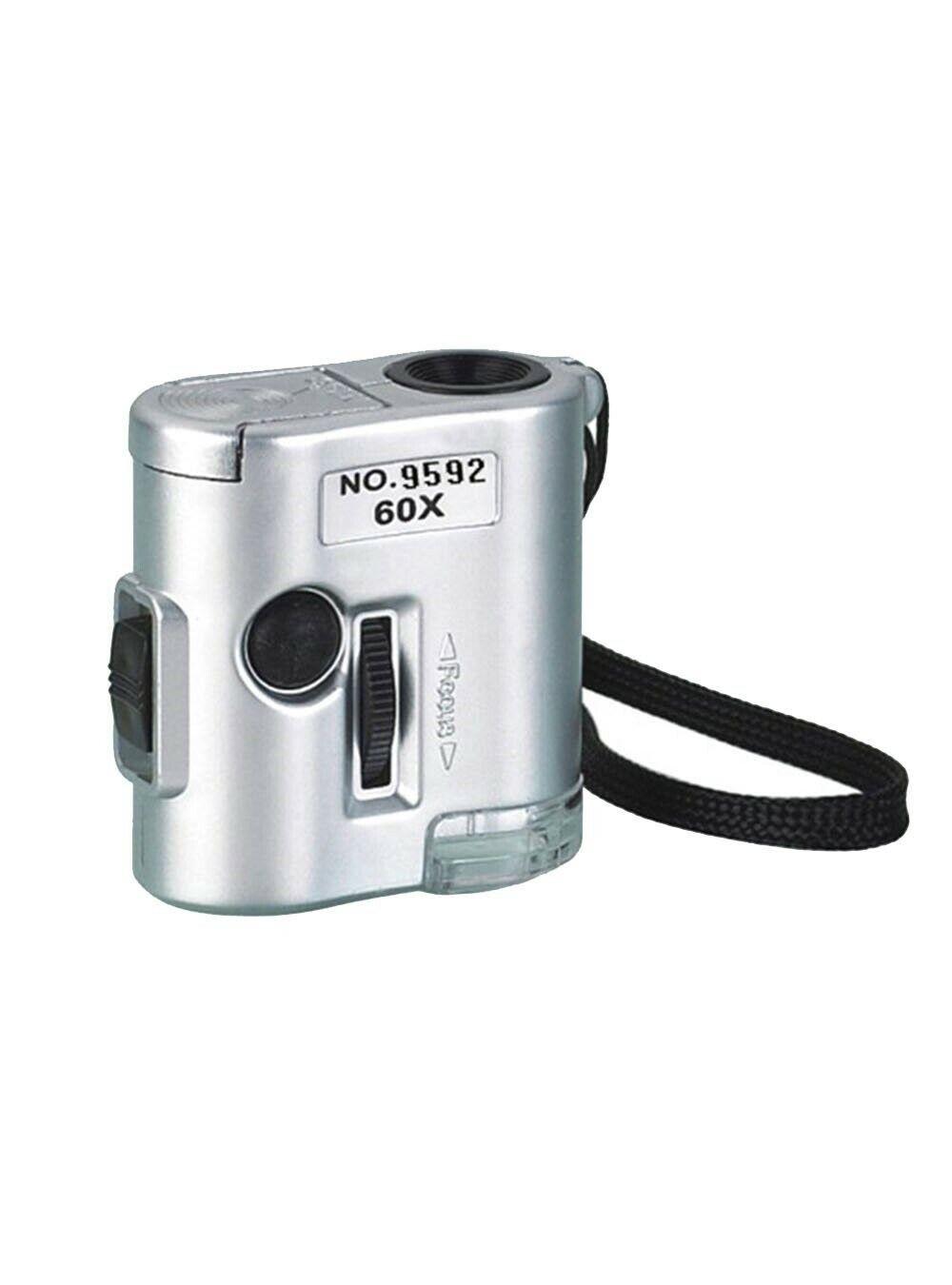 CKStamps: 60X Pocket Mini Magnifier Microscope Loop w/LED UV Light(Color:Silver