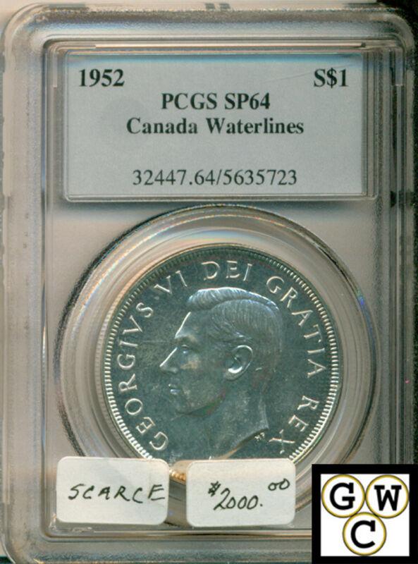 """1952 Canada Silver Dollar PCGS SP64 """"Canada Waterlines"""""""