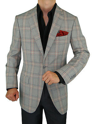 DTI GV Executive Mens Italian Wool Suit Jacket One Button Modern Fit (Mod Suit Jacket)