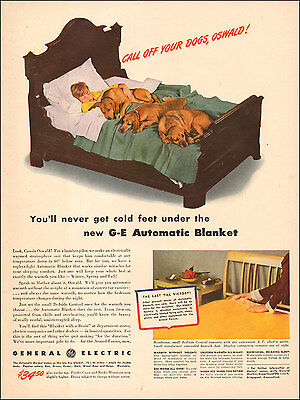 1942 WW 2 Era AD GE Electric Blankets , Last till Victory, 3 dogs on bed  072617