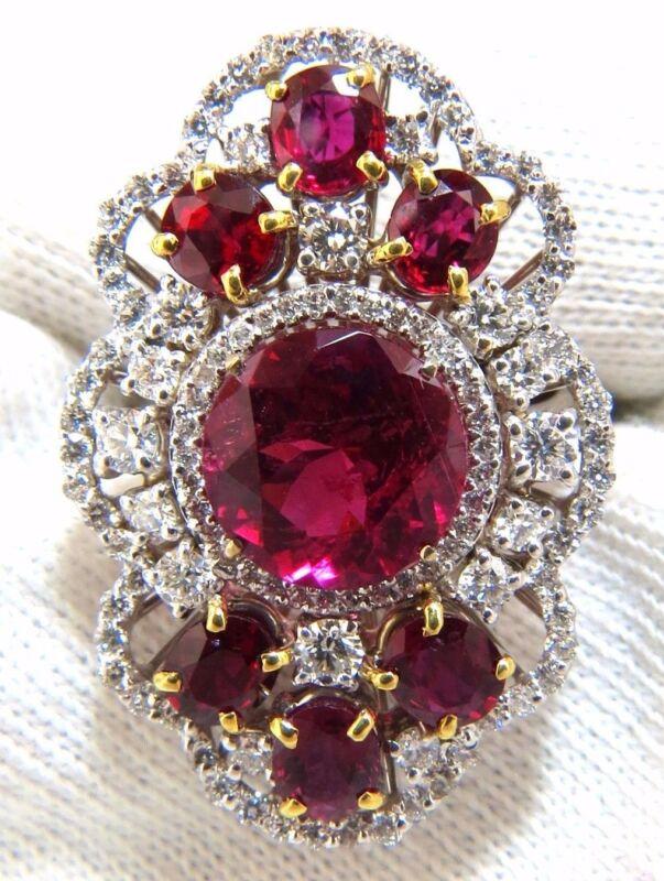 Gia Certified 8.03ct Natural Tourmaline Rubellite Ruby Diamond Cluster Ring 18k