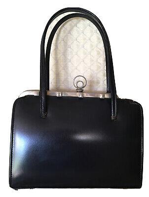 Vintage Ackery London Black Leather Handbag