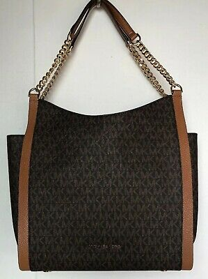 New Michael Kors Newbury Medium Chain Shoulder Tote Signature Brown / Acorn