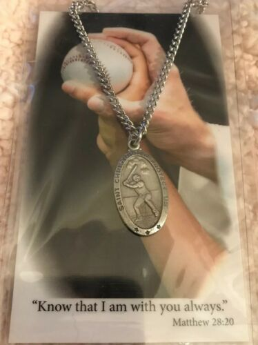 """St. Christoper Boys Baseball Prayer Medal 24"""" Chain"""