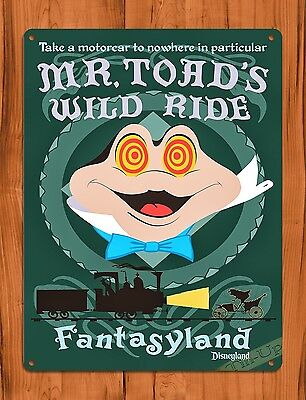 TIN SIGN Disney's Mr. Toad's Wild Ride Cartoon Attraction Art Poster